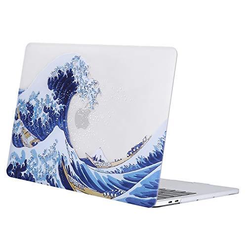 MOSISO Case Compatibile con MacBook PRO 13 Pollici con/Senza Touch Bar 2020-2016 M1 A2338/A2289/A2251/A2159/A1989/A1706/A1708,Motivo Custodia Rigida Cover,Base Chiara Sea Wave