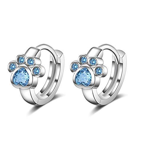 Boucles d'oreilles 925 Sterling Argent Stud Boucle d'Oreille Blue Zircon Cat Claw Design Boucles d'Oreilles pour Femmes Girl Ear Jewelry Fashion