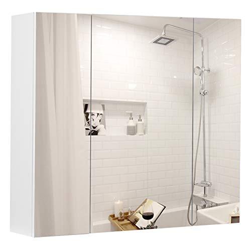 VASAGLE Spiegelschrank, Badezimmerschrank, Aufbewahrungsschrank mit 3 Türen, fürs Badezimmer, 60 x 15 x 55 cm, mit verstellbaren Regalebenen, modern, weiß BBK22WT