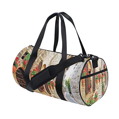 HARXISE Bolsa de Viaje,Porche con Flores de Colores en una Calle Vieja de la Ciudad Italia día Soleado,Bolsa de Deporte con Compartimento para Sports Gym Bag