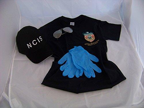 NCIS Navy CIS Cap + Gibbs Logo T-Shirt + Brille + Handschuhe, Kostüm , Fasching , Verkleidung (X-Large)