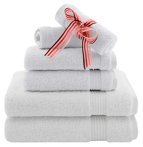 Premium, Luxury Hotel & Spa, Turkish Towel 100% Cotton 6-Piece Towel Set for Maximum Softness and Absorbency by American Veteran Towel (Snow White)