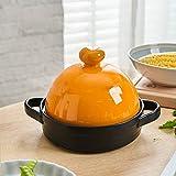 SCSBJ Tagine redondo de hierro fundido esmaltado Ø 28 cm Compatible con todas las fuentes de calor de inducción y horno incluido Tagine de cerámica de inducción, naranja