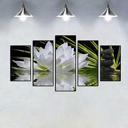 BKJKG Wulian niet ingelijst lotusbloem in water canvasdruk decoratieve poster afbeelding canvas muurkunst schilderij slaapkamer woonkamer decor 20 x 55 cm.