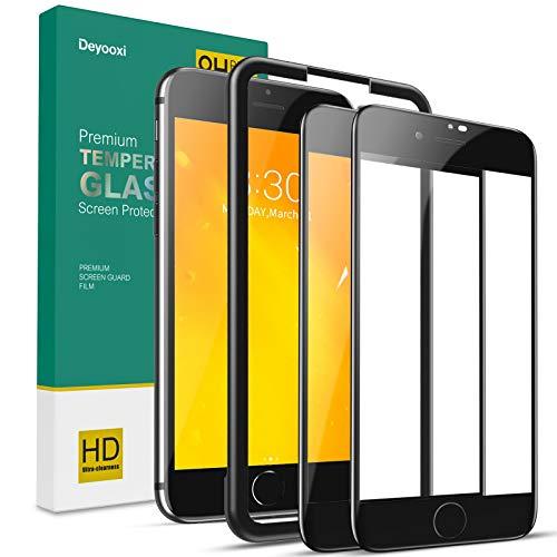 Deyooxi 2 Pezzi Vetro Temperato per iPhone 7 Plus/iPhone 8 Plus, Curva Full Screen Pellicola Protettiva Screen Protector Film, 9H Durezza Copertura Completa Protezione Schermo, Nero