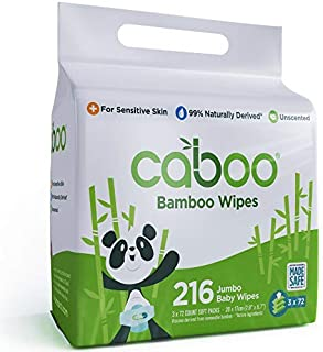 Caboo Tree-Free Bamboo Baby Wipes, Eco-Friendly Natural Baby Wipes for Sensitive