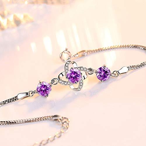 Klavertje Vier Sterling Zilveren Armband Met Gift Van De Dag Zircon S925 Zilveren Sieraden Simple Mode Valentine's Voor Vriendin,A2