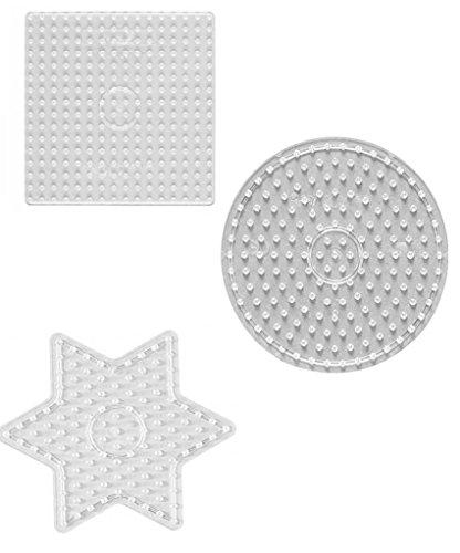 Hama Maxi Perlen - Beutel mit Stiftplatte 8220 Kreis , 8214 Quadrat und 8222 Stern