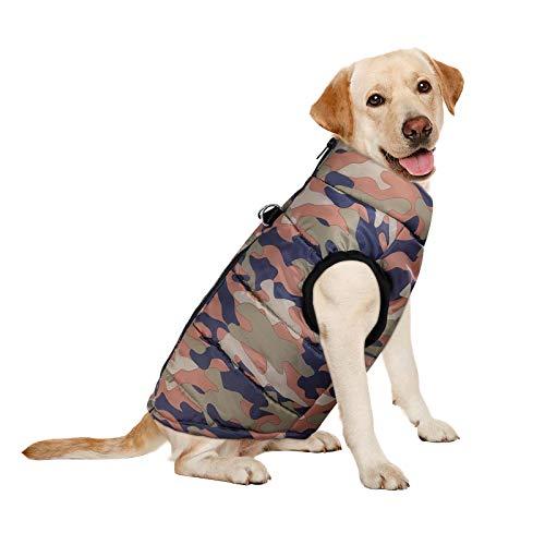 UEETEK Giacca Invernali per Cani Vestito Giubbotto Senza Maniche Camuffamento Imbottito per Cane e Cucciolo L
