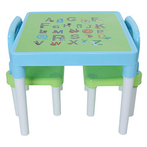 Sallymonday Kids Table and Chairs Set Family Time, Toddler Activity Chair Best for Toddlers Reading, Train, Art Play-Room Little Kid Children Furniture Accessories - Plastic Desk (Light Blue)