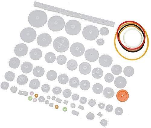 HEEPDD Juego de Engranajes de plástico de 60 Piezas, Juego de Mangas de Eje de polea de Correa de Engranaje Accesorios de Juguetes educativos para niños para DIY Modelo de Caja de Cambios de M