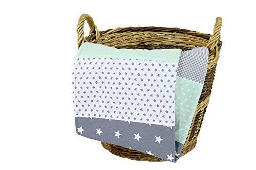 ULLENBOOM ® Babydecke Mint Grau (70x100 cm Baby Kuscheldecke, ideal als Kinderwagendecke, Spieldecke geeignet, Motiv: Punkte, Sterne, Patchwork)