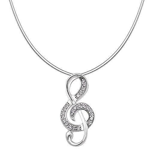 Vinani Anhänger Note mit weißen Zirkonia elegant glänzend mit Schlangenkette 45 cm Sterling Silber 925 Kette Italien Notenschlüssel Musik 2ANO-S45