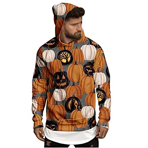 Sudaderas de Halloween para hombre con capucha de calabaza de araña 3D estampado jersey de manga larga para disfraz de fiesta novedad desgaste, dorado, XL