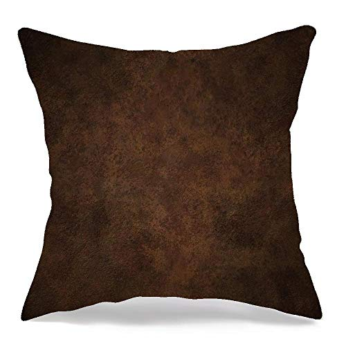 Throw Pillow Cover for Couch Sofa Bed Brown Grungy Copper Shaded Rough Dirty Metal Abstract Aged Red Black Rust Old Dark Rustic Corroded Linen Decorative Pillows Cushion Cover 16 x 16 Inches