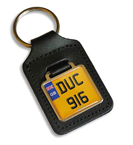 BPGraphics Ducati 916 Cherished Number Plate Motorcycle Leather Keyring Gift