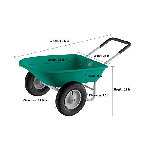 "2-Wheeled Garden Wheelbarrow "" Large Capacity Rolling Utility Dump Cart for Residential DIY Lawn by Green Metal"