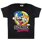 Popgear Sonic The Hedghog y Colas Camiseta de los Muchachos Negro 158   Videojuegos clásicos, Idea Regalo para los niños, Gamer Top