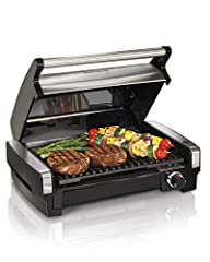 Locks in juices and flavors: Sear at 450 degrees or use adjustable temperature dial to grill at lower heat for optimal grilling results Enjoy grilling all year long: This indoor grill with hood has a high searing heat that locks in juices and flavors...