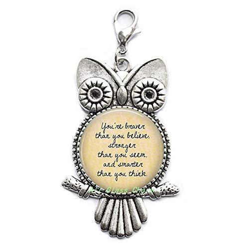 Joyas inspiradoras con cita literaria 'You're Braver Than You Believe' con diseño de búho, regalo de apoyo con cremallera, AS0240