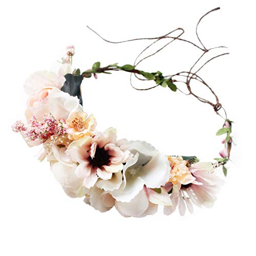 Handmade Adjustable Flower Wreath Headband Halo Floral Crown Garland Headpiece Wedding Festival Party (A13- Candy Pink)