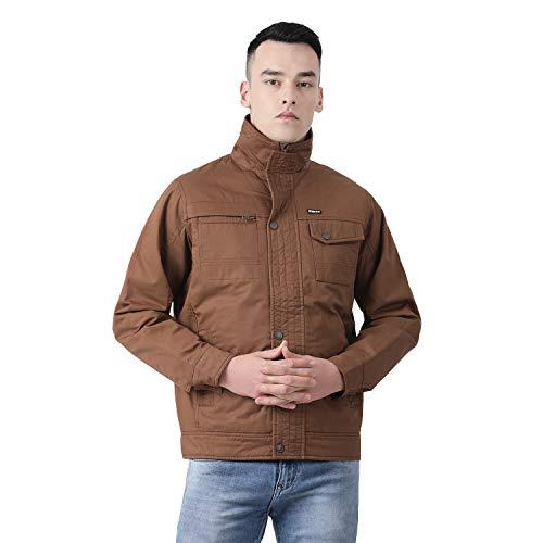 CLOAK & DECKER Men's Cotton Blend Polo Collar Jacket (Size:- Large, Solid Brown Coloured)