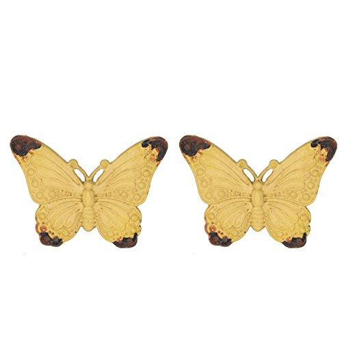 NIKKY HOME 2 Stück Türgriffe aus Griff Schublade zieht Möbel Schrank geformt von Schmetterling Vintage-Stil Dekorative Metall Gelb