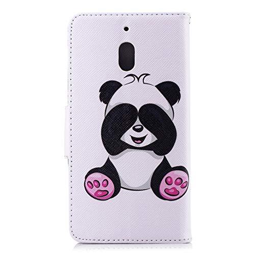 Für Nokia 2.1 2018 Hülle, Premium PU Leder Schutztasche Klappetui Brieftasche Handyhülle, Standfunktion Flip Wallet Hülle Cover - Panda
