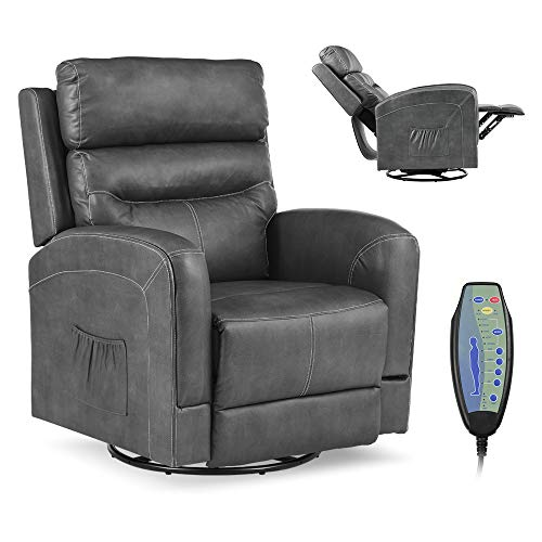 Okeysen Massage Recliner Chair with Lumbar Heating, Ergonomic Lounge Chair, Reclining Sofa for Living Room, 360 Degree Swivel, Side Pocket & Remote Control. (Pu Leather - Grey)