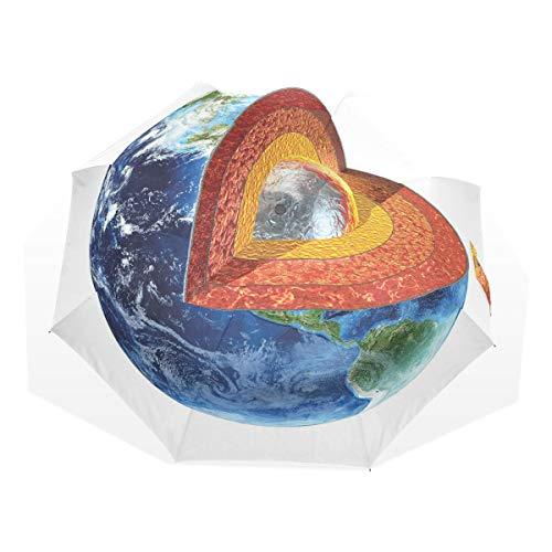 LASINSU Regenschirm,Erdbild,das den inneren Kern Geologie und Wissenschaftsthema Planeten Globus Druck zeigt,Faltbar Kompakt Sonnenschirm UV Schutz Winddicht Regenschirm