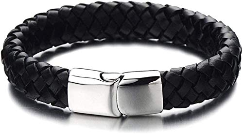 YOUZYHG co.,ltd Wide Braided Leather Bracelet for Men Black Leather Strap with Magnetic Box Closure