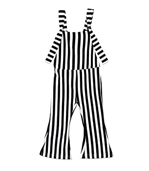 ZAXARRA Toddler Baby Girl Stripes Bell-Bottom Jumpsuit Romper Overalls Long Pants Outfits  1-2 Years Black