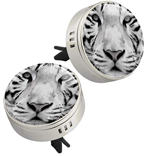 Yumansis Animal Tiger Silver 2 car aroma diffuser salking aroma diffuser Alloy metal Crystal glass Aromatherapy clip + 4 Refill pads