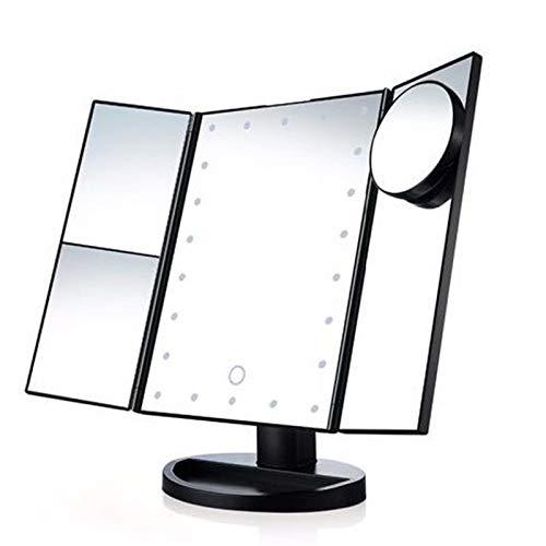 Vanity Mirror Tres veces espejo iluminado ampliada de maquillaje espejo de tocador...