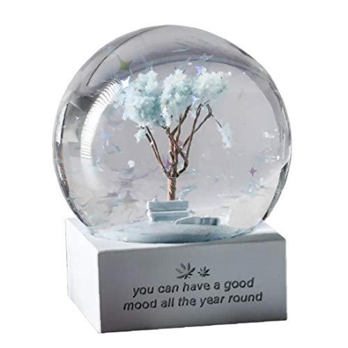 tJexePYK Nieve del Globo de Cristal Bola de Cristal Música Creativa Muchacha de la Historieta Azul nórdico para Cumpleaños Regalo Decoración de Escritorio