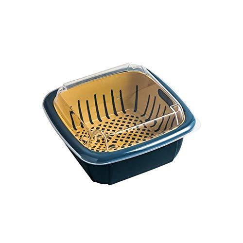 Batchelo Cesta de frutas y verduras coladores de alimentos bandeja almacenamiento con tapa caja almacenamiento para cocina sala estar nevera 21 x 21 x 10 cm 2 niveles azul oscuro