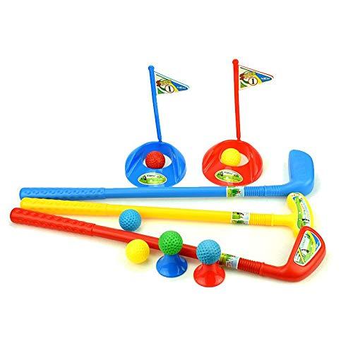 sharprepublic Kinder Minigolf-Spiel, inkl. 3 Golfschläger, 6 Bälle, 2 Loch, 2 Tee, Kindergolf Mini-Golf Indoor Outdoor