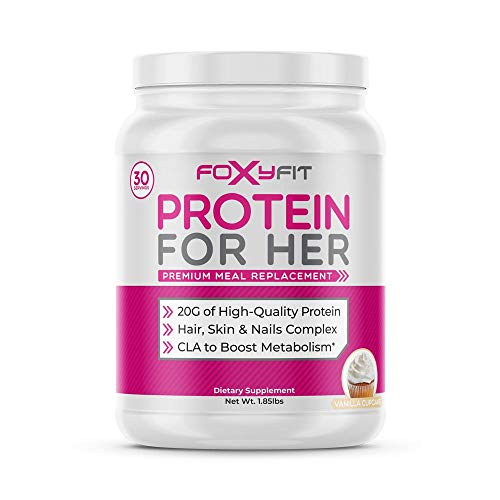 Whey Protein Powder for Women by Foxy Fit - Protein to Help with Weight Management and Healthy Hair Growth with CLA and Biotin (Vanilla Cupcake 1.85 lbs.)