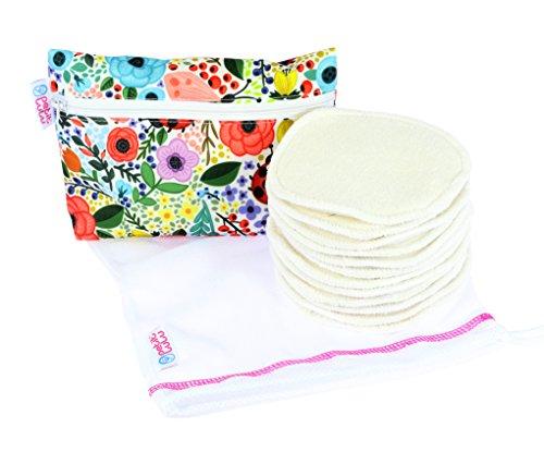 Petit Lulu Bambus Bio Baumwolle Stilleinlagen washbar | 12-er Pack mit Wäschenetz und Tragebeutel | weich super saugstark widervervendbar