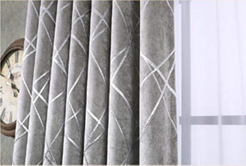 PENVEAT Blackout Jacquard Silber Vorhänge für Wohnzimmer Chenille American Modern Luxury Blinden Stoff Geometric Drape Schlafzimmer-Fenster, Silber, W300CM X L215CM, Pull Falte