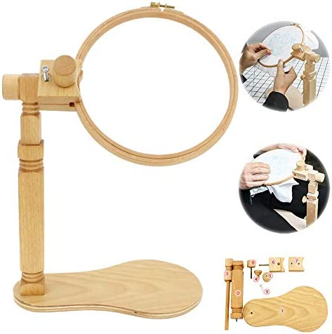 Embroidery Stand Size Adjustable Embroidery Hoop Stand Natural Beech Wood Rotated Cross Stitch product image