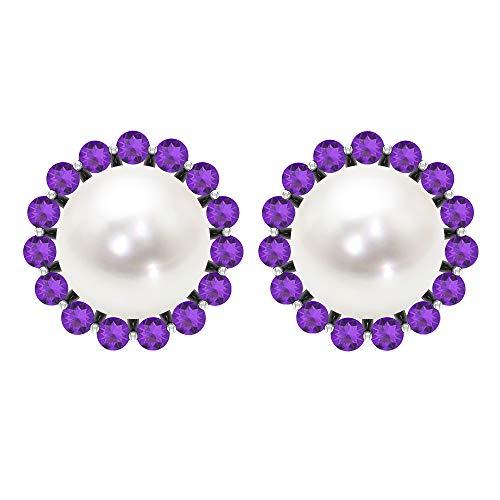 Solitaire - Pendientes de tuerca con perla de agua dulce de 6,45 quilates, diseño de halo de amatista, estilo antiguo, para boda nupcial, pendientes cómodos con rosca trasera blanco