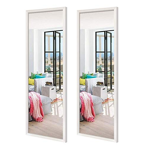 Schliersee 14x48 inch Full Length Mirrors Wall Mounted Rectangular White Framed Wall Mirror Set for Bathroom, Living Room, Bedroom, 2 Packs