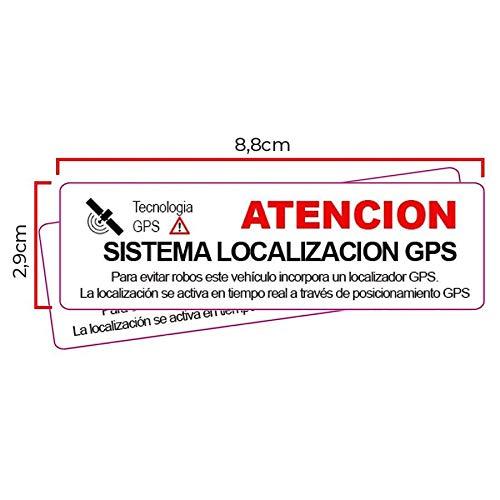 2 Pegatinas disuasorias Interior cristal localizador GPS vehiculos. Aviso Castellano Coches alquiler,...