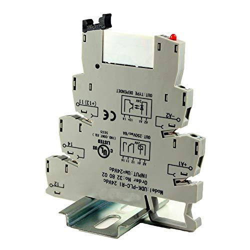 ASI ASI328002 24Vdc Pluggable SPDT Relay with DIN Rail Mount Screw Clamp Terminal Block Base, 6 amp, 250 VAC Rating, 24 VDC Coil