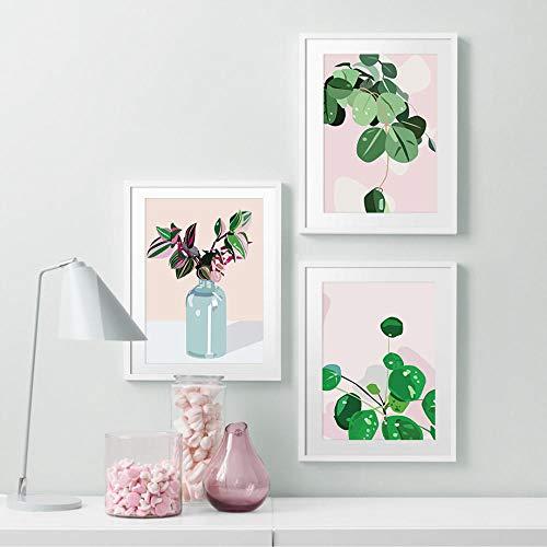 Groene Dille Plant Gras Muur Kunst Canvas Schilderij, Posters en Prints Muurdecoratie Foto's voor Woonkamer 50x70cmx3 geen Frame