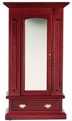 Puppenhaus Miniatur 1:12 Mahagoni Holz Spiegel Kleiderschrank