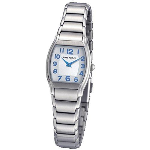 TIME FORCE TF-3360B02M - Reloj analógico de Mujer. Cadena de Acero. Esfera Blanca/Plata