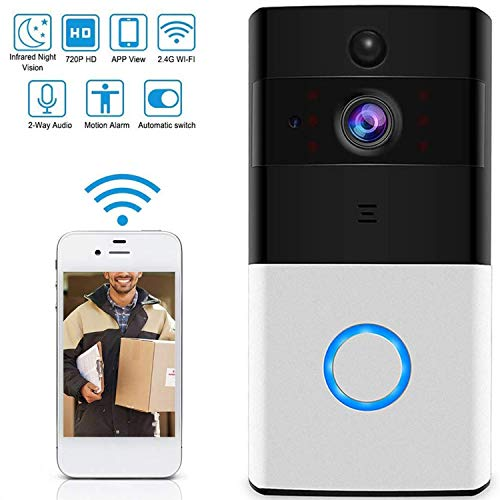 Smart Video Deurbel Camera Wi-fi met Bewegingsdetector 720P HD Home Security Camera, Twee-weg Audio Night Vision Compatibele Smart Phone