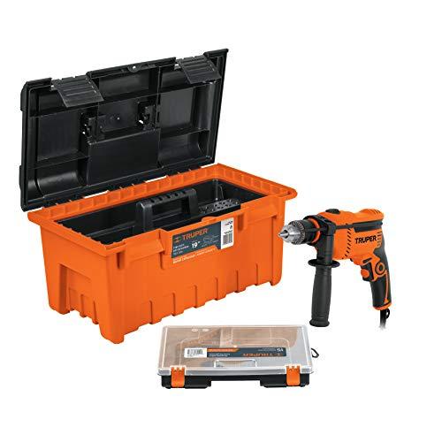 Truper COMBO-100, Paquete de rotomartillo profesional 1/2', caja para herramienta y organizador, en pall